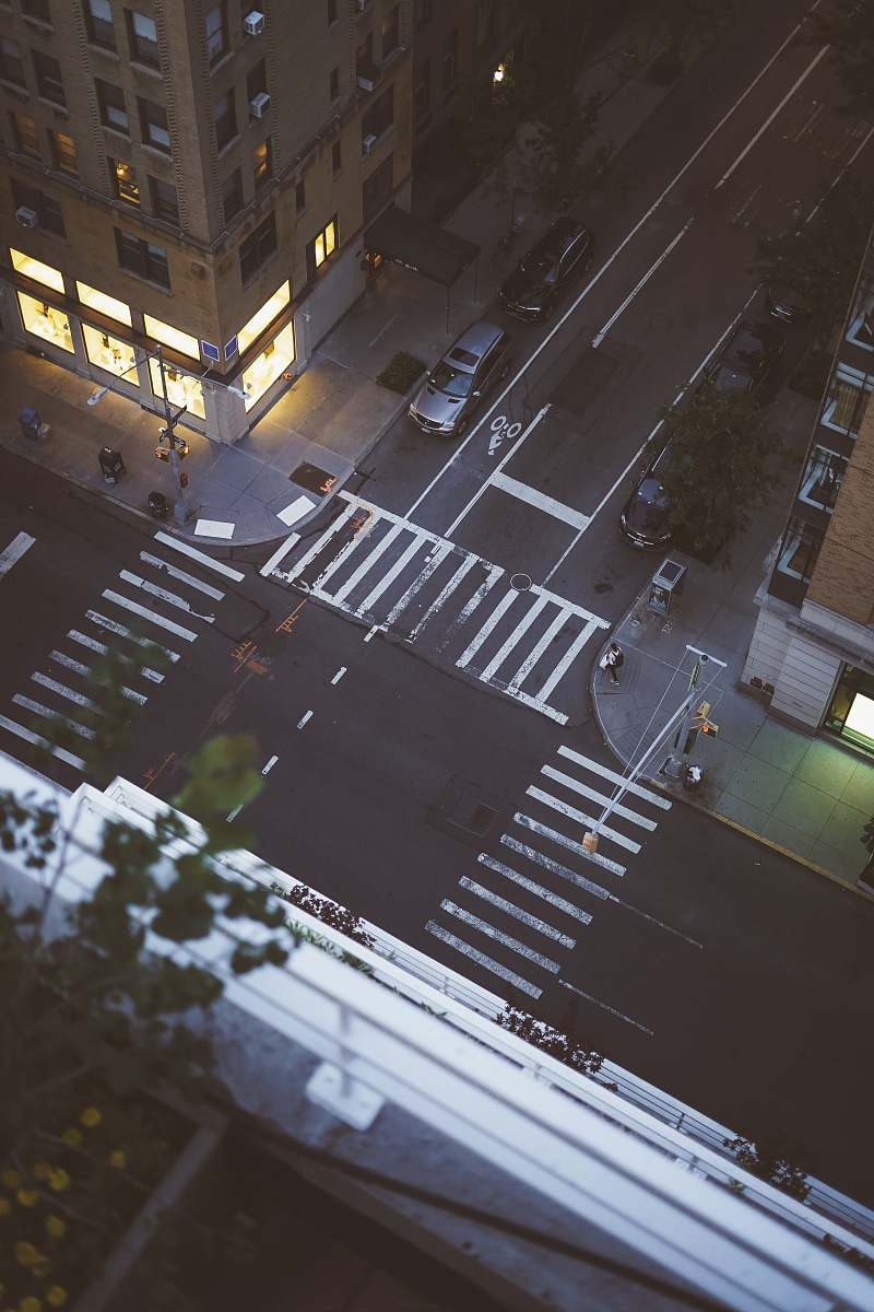 stock photos free  of road aerial view of car parked beside building tarmac
