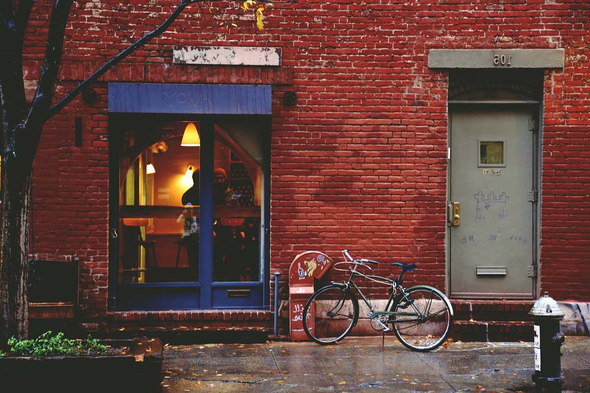 stock photos free  of bike black bike leaning by building door transportation