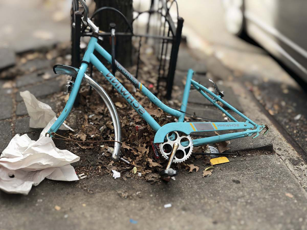 stock photos free  of brooklyn blue Schwinn bicycle frame leaning on black metal frame united states