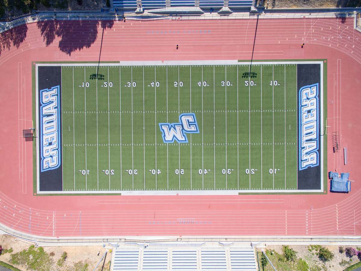 stock photos free  of scoreboard aerial photography of football field moorpark coll
