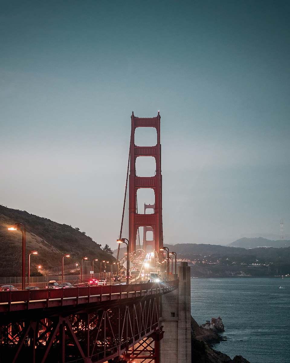 stock photos free  of bridge vehicles traveling on Golden Gate Bridge, San Francisco united states