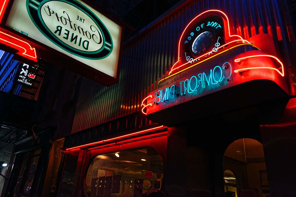 stock photos free  of food red and blue neon light signage meal