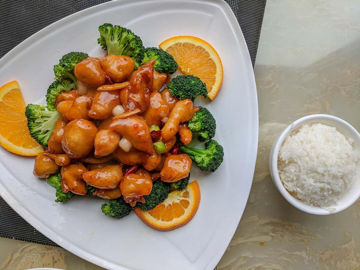 stock photos free  of plate orange fillet with broccoli dish
