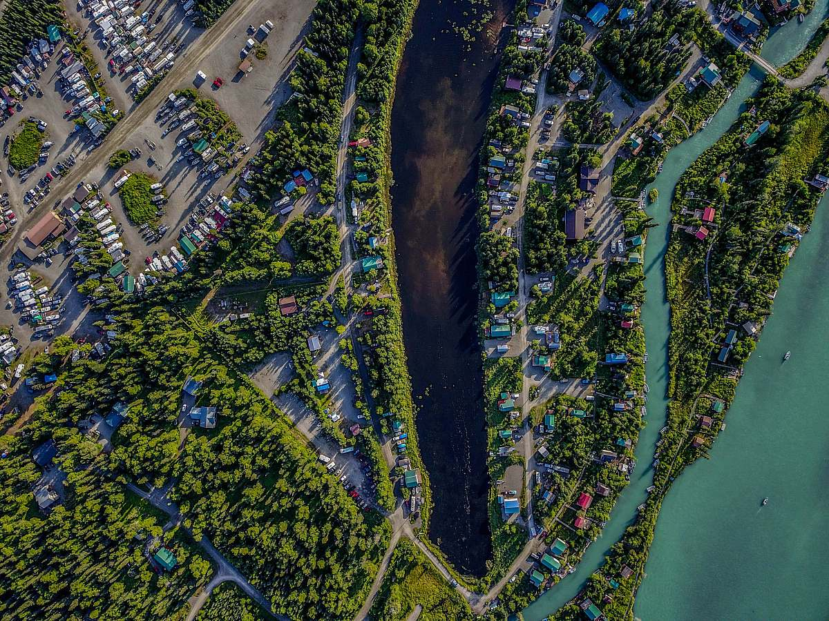 stock photos free  of kenai aerial photography of body of water and houses aerial view