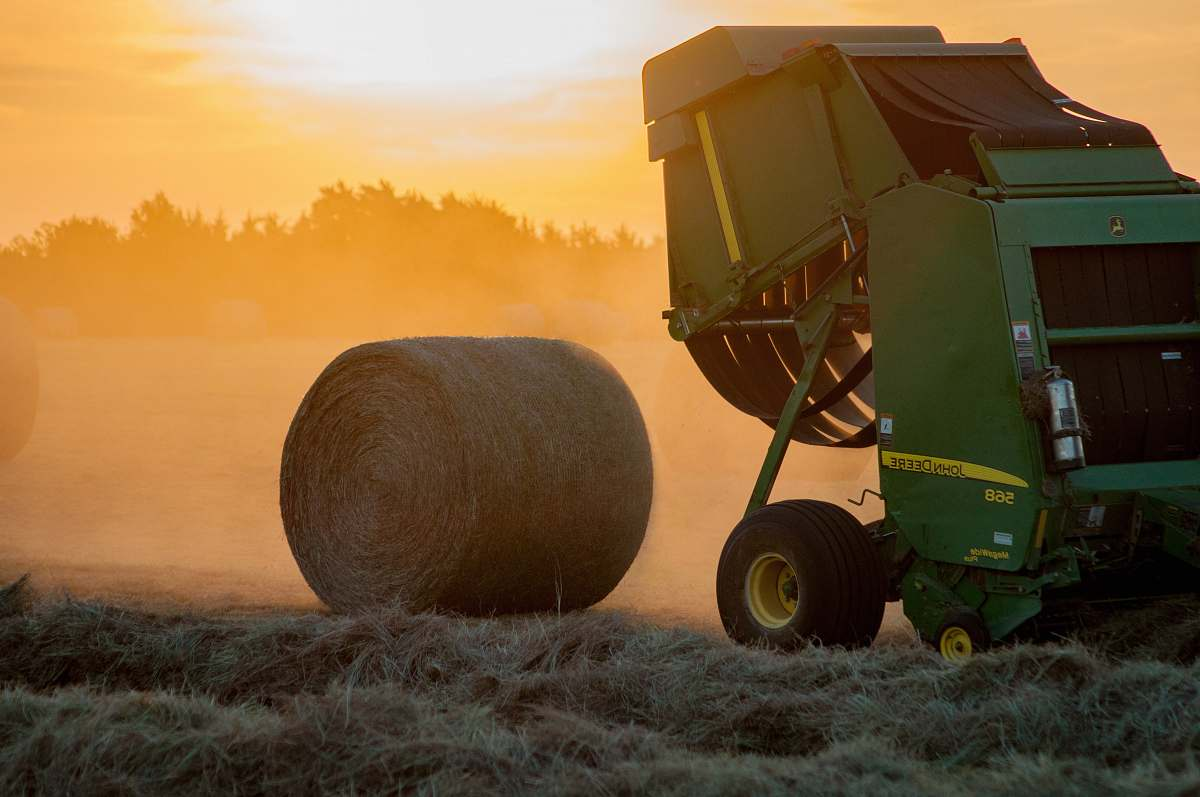 stock photos free  of transportation green heavy equipment and hay roll vehicle