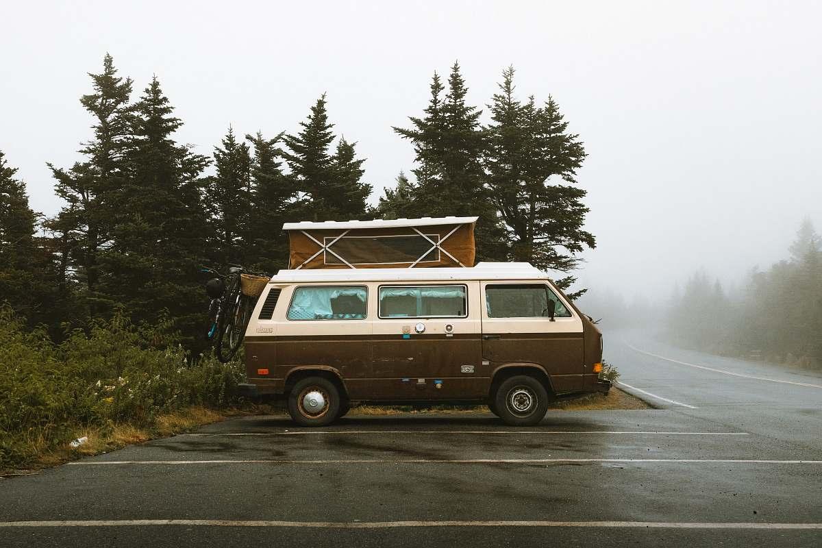 stock photos free  of van brown and white bus near green trees caravan