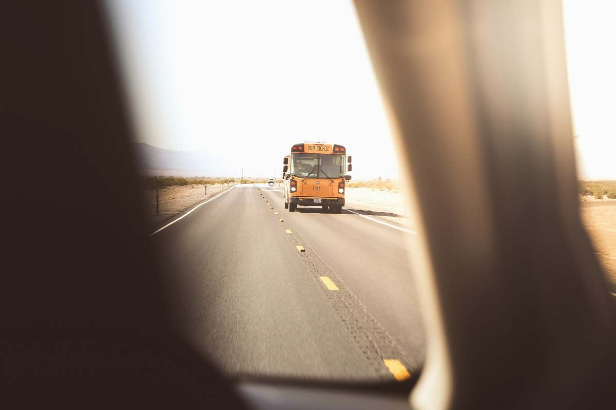 stock photos free  of bus yellow class a motorhome on roadway school bus