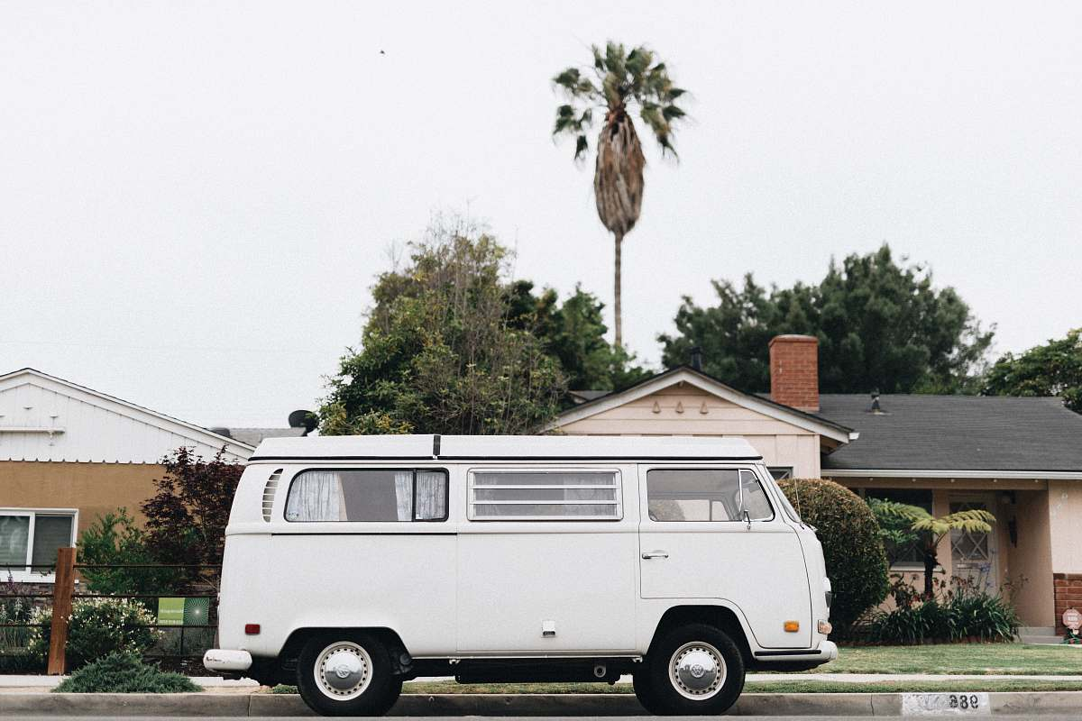 stock photos free  of caravan white van in front of house transportation