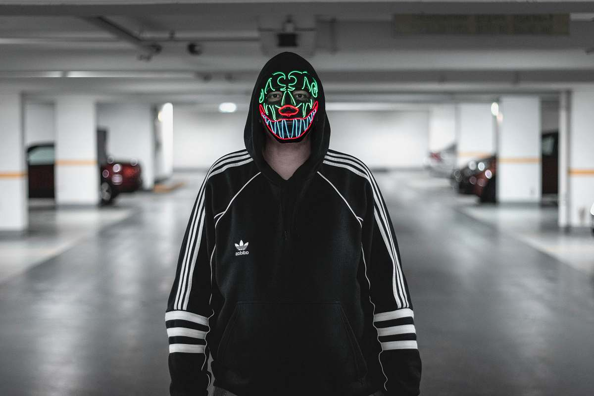 stock photos free  of clothing man wearing black and white adidas jacket wearing multicolored mask automobile