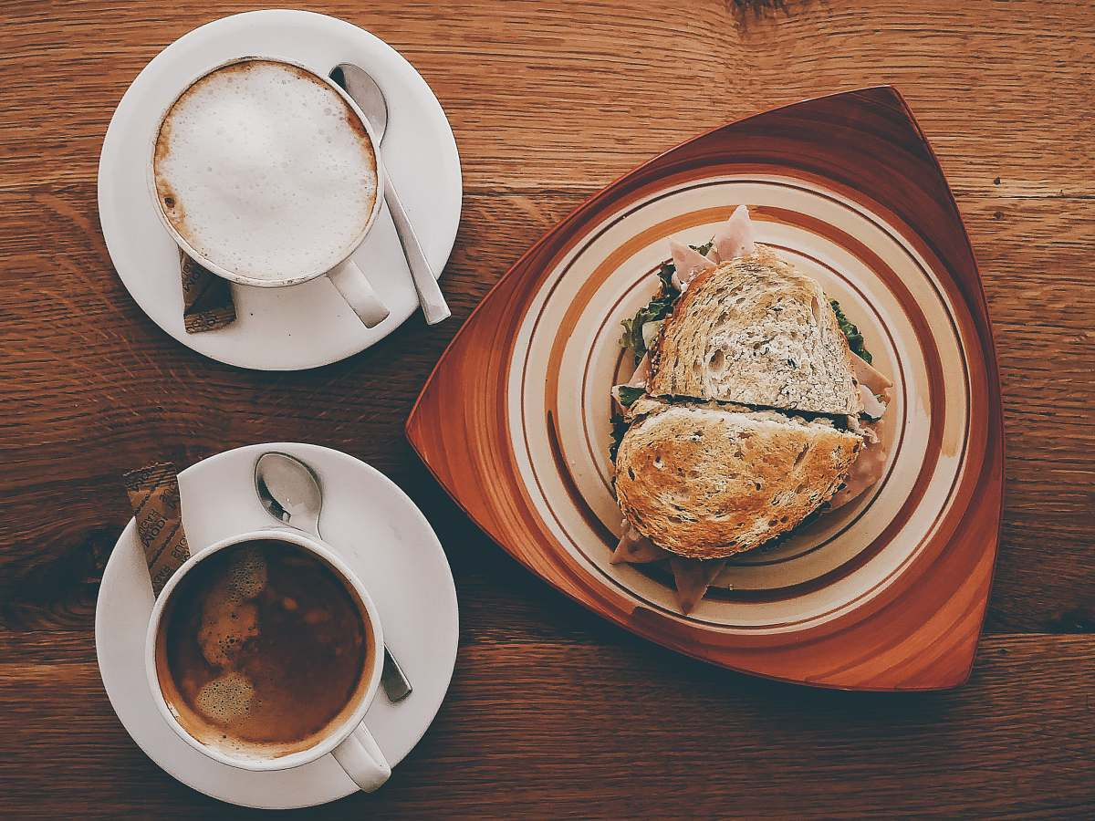stock photos free  of meal ham sandwich on plate near cappuccino on mug and coffee breakfast