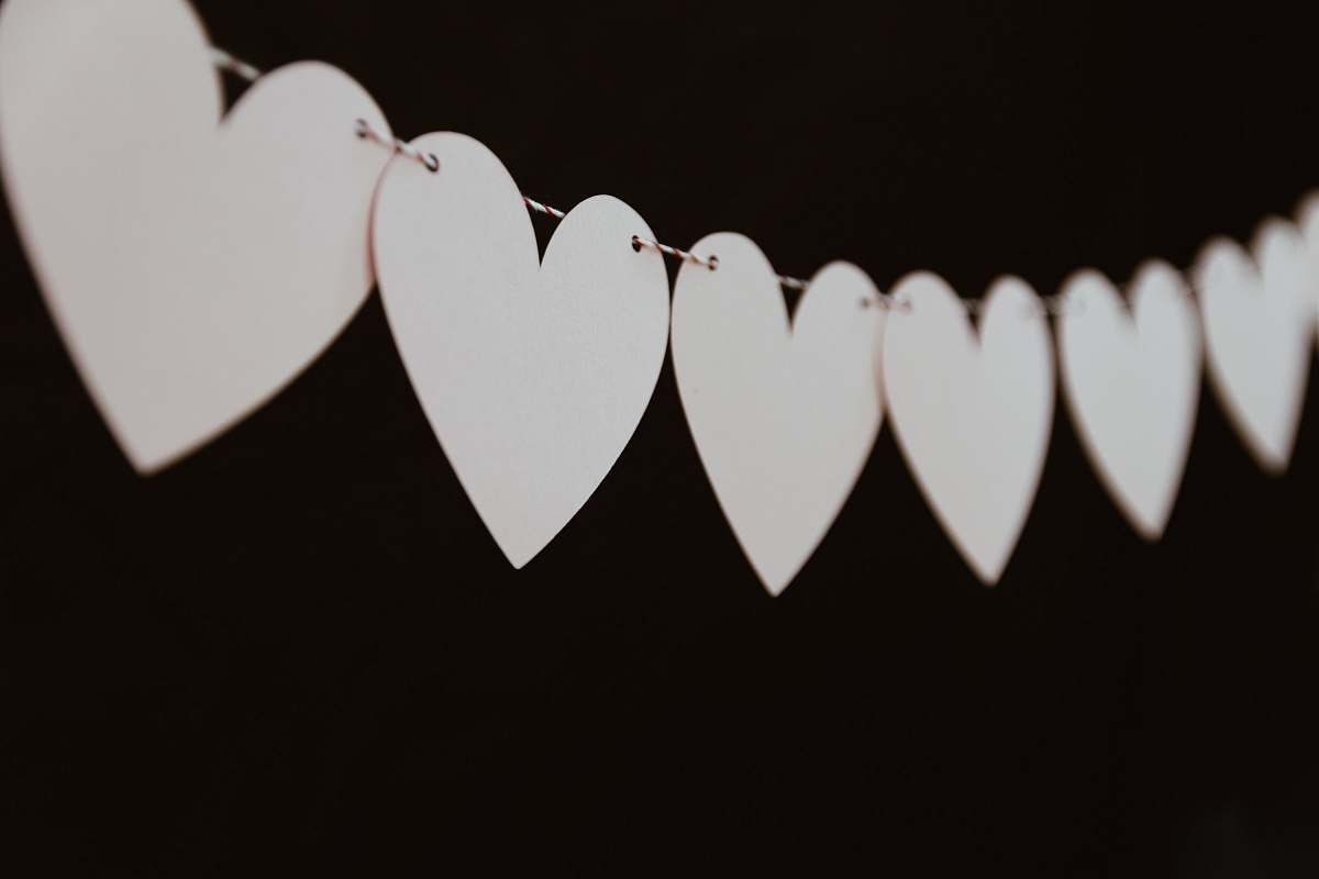 stock photos free  of love closeup photo of white heart bunting valentine