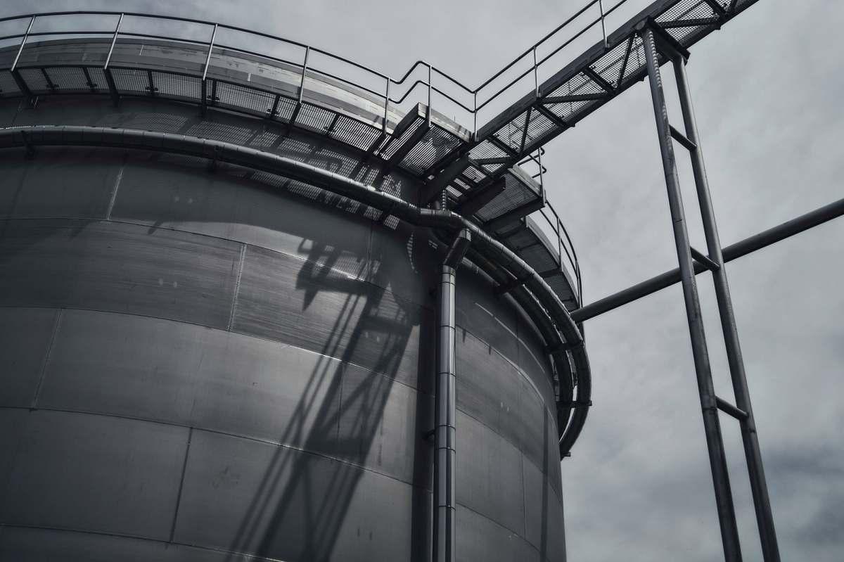 stock photos free  of tower Black and white shot of industrial metal steel tower in Budějovický Budvar, národní podnik steel