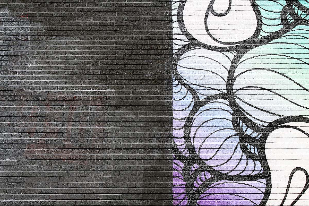 stock photos free  of brick black, white, and purple abstract artwork wall