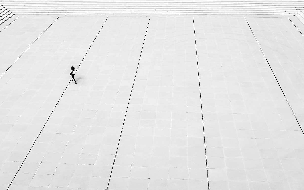 stock photos free  of black-and-white woman walks at the plaza floor