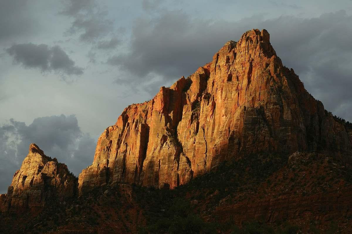 stock photos free  of mountain brown mountain under gray sky peak