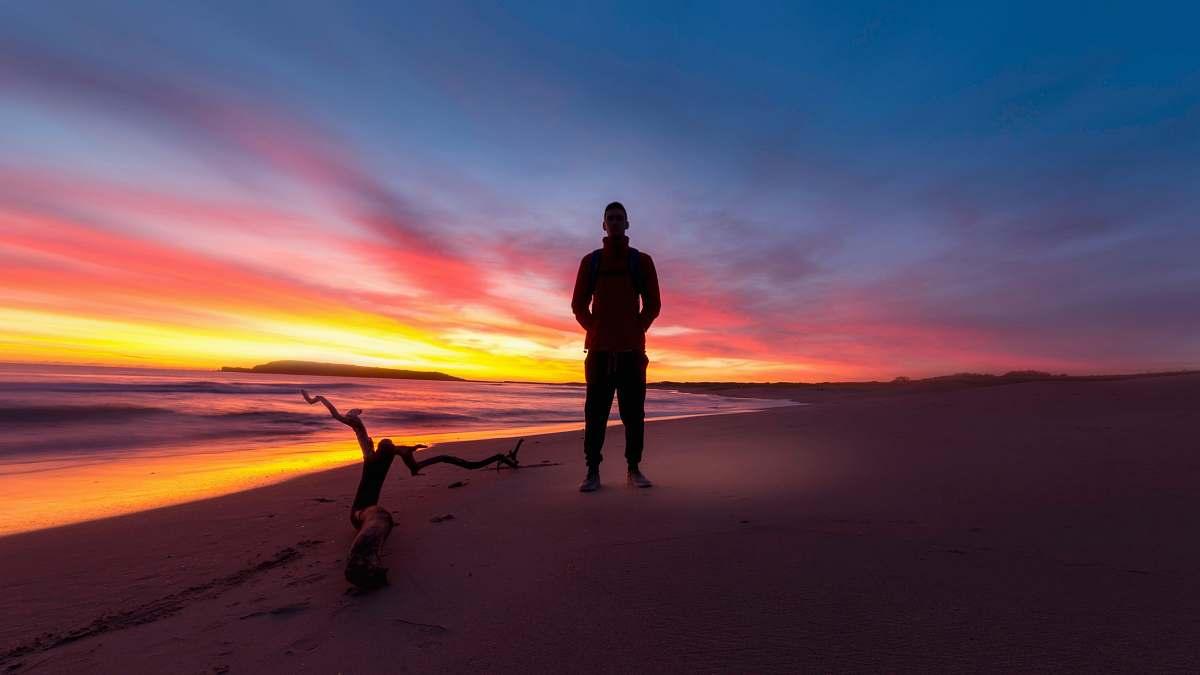 stock photos free  of sydney man standing on a beach during sunset australia