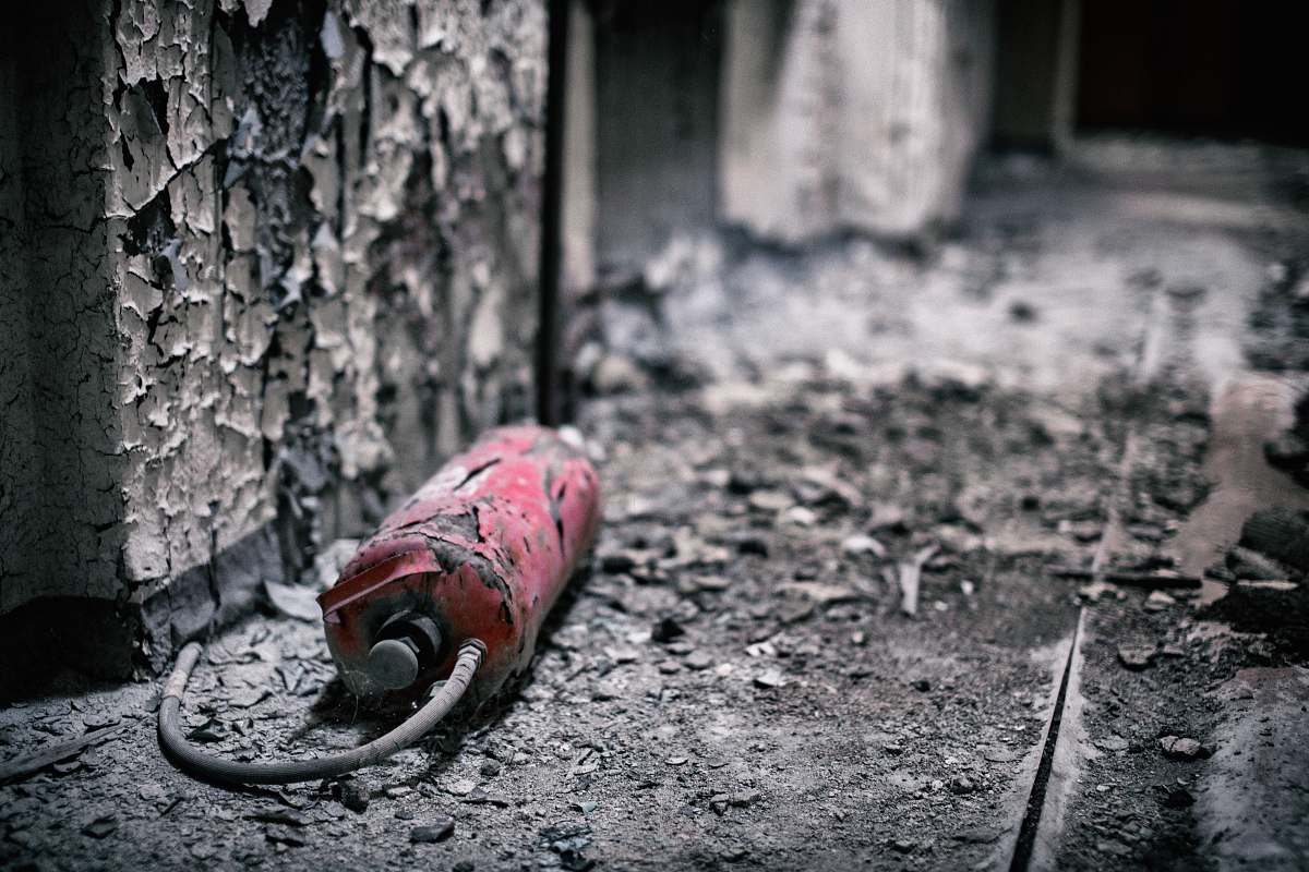 stock photos free  of spremberg broken red fire extinguisher germany