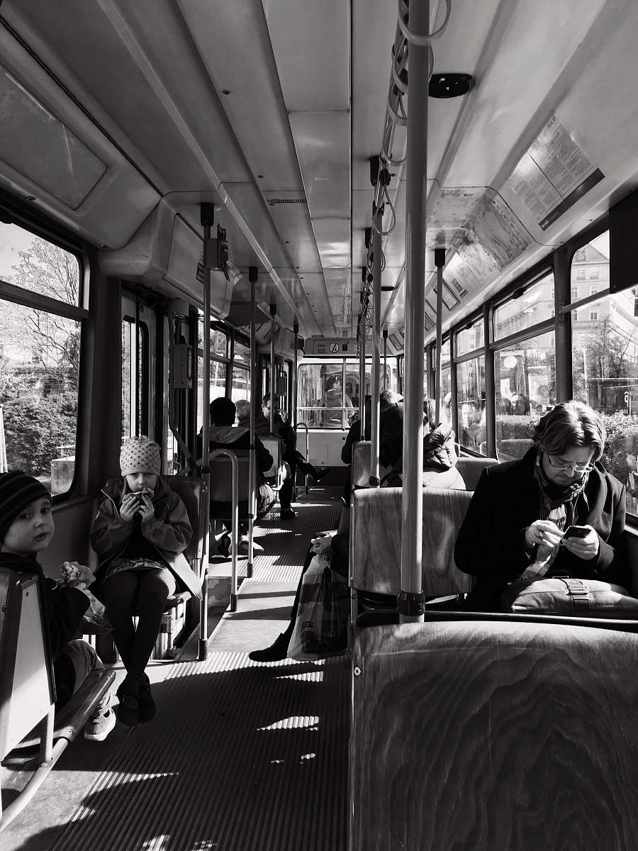 stock photos free  of human grayscale photo of person inside bus black-and-white