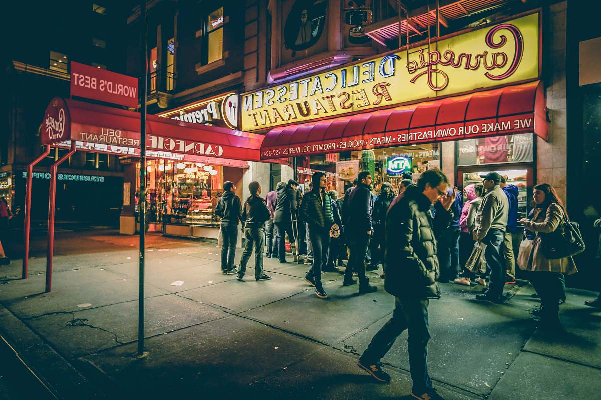 stock photos free  of people people in front of Carnegic Delicatessen Restaurant human