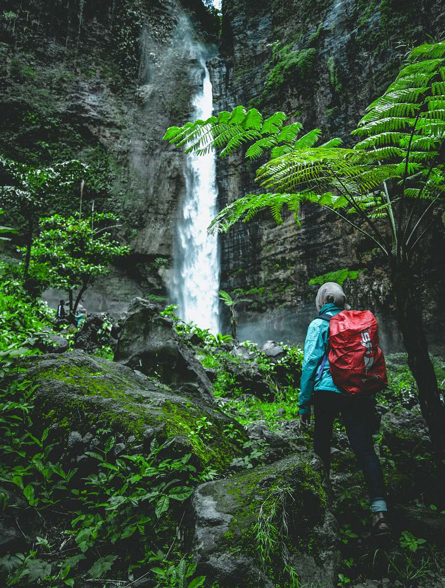 stock photos free  of people person walking towards waterfall at daytime human