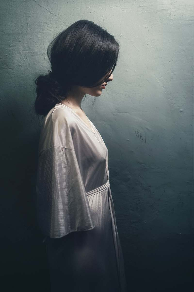 stock photos free  of grey painting of woman in white long-sleeved dress woman