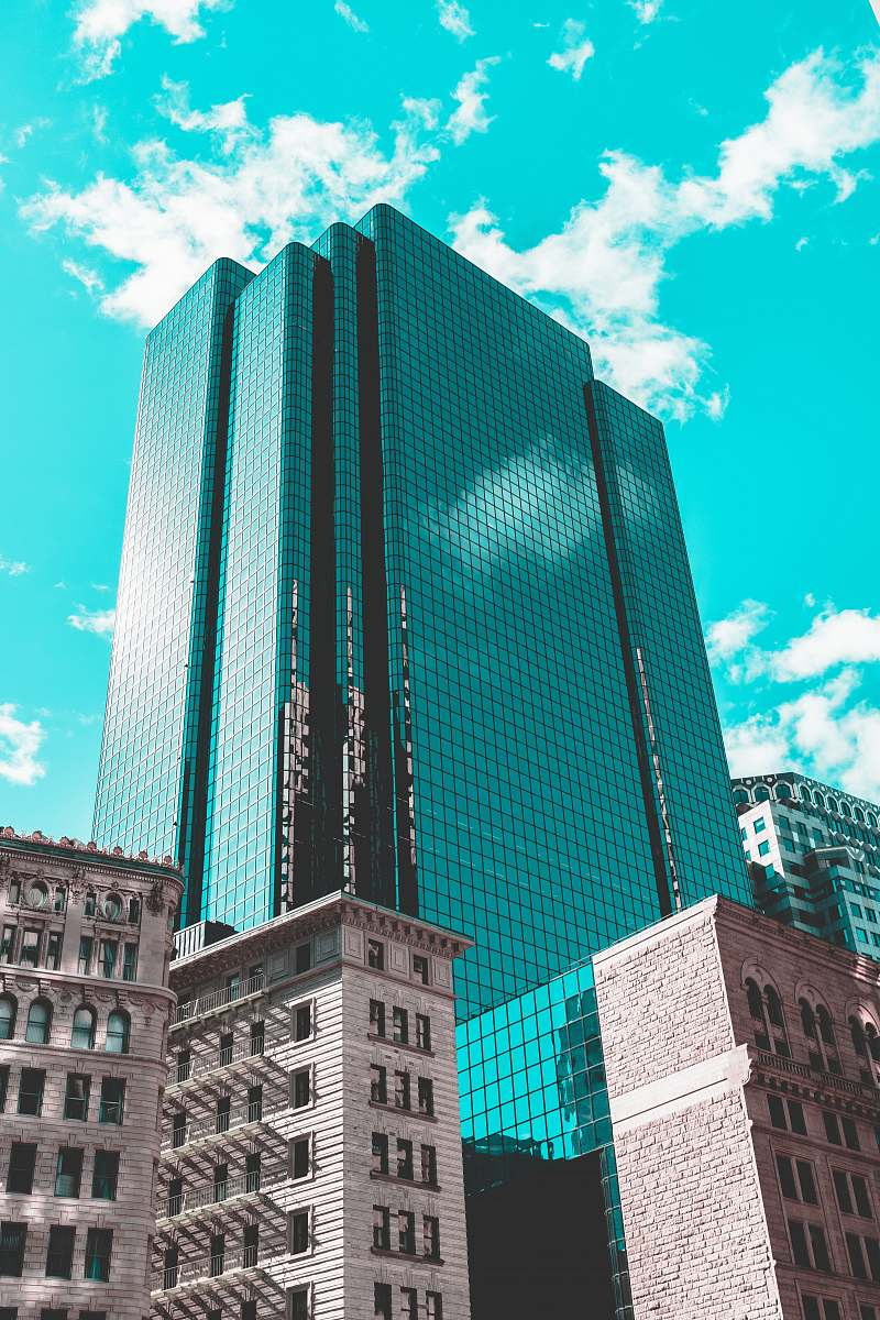 stock photos free  of building blue curtain wall building under teal skies architecture