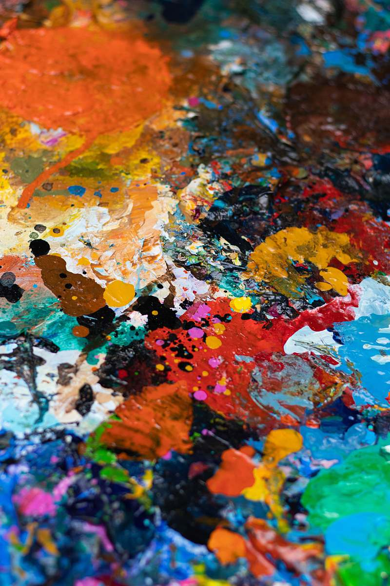 stock photos free  of art blue, white, orange, and red abstract painting paint container