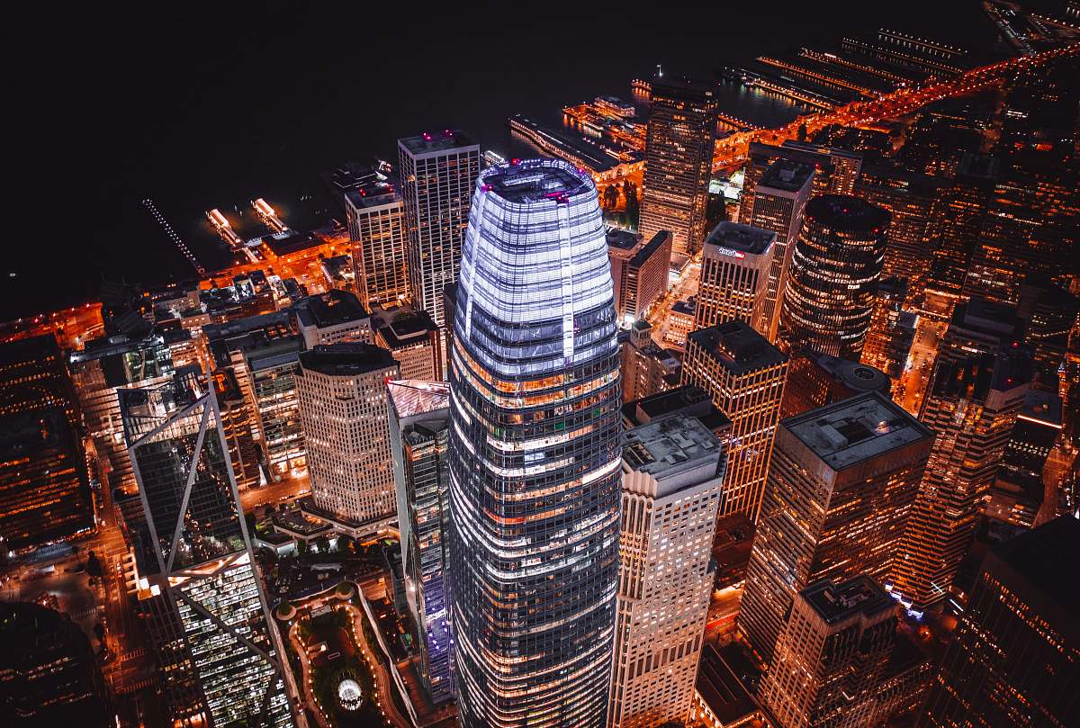 stock photos free  of outdoors aerial view of city during nighttime nature