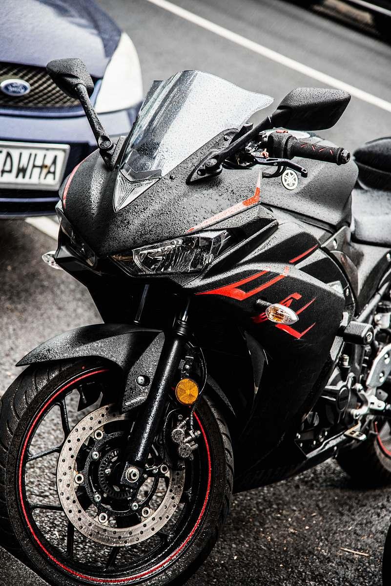 stock photos free  of transportation black Yamaha sports bike parked on parking lot motorcycle
