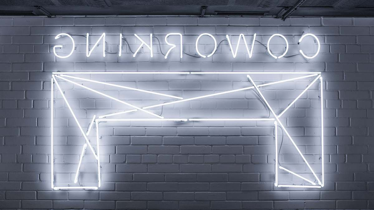 stock photos free  of neon closeup photo of Co Working neon light sign grey