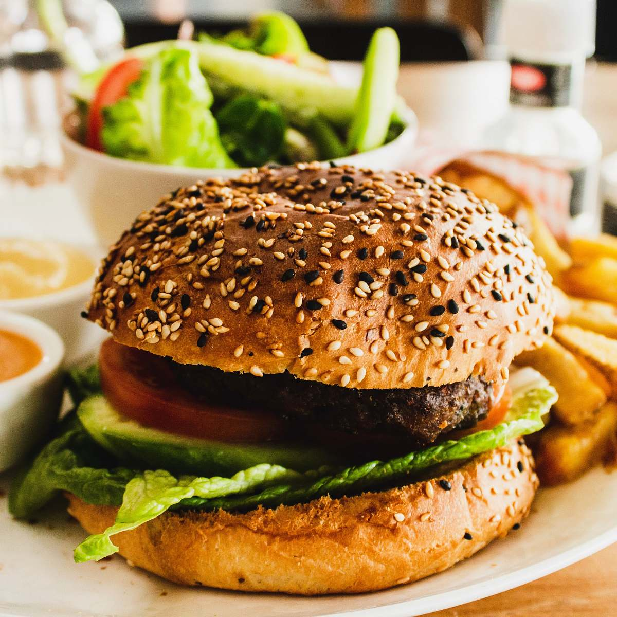 stock photos free  of burger burger with tomato, lettuce, and fries sesame