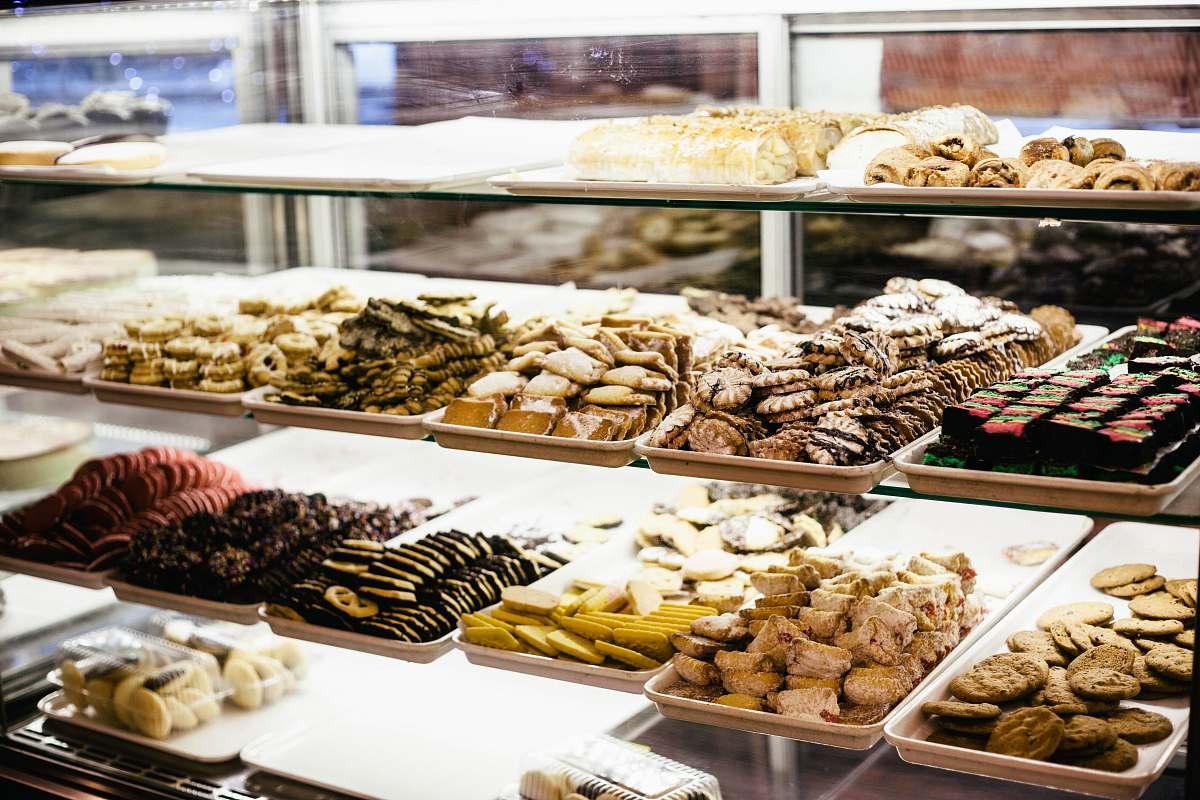 stock photos free  of bakery chocolates pastry display dessert