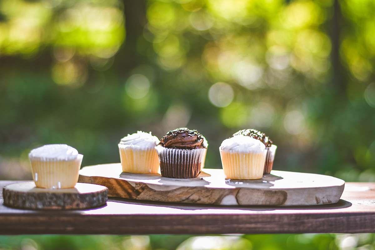 stock photos free  of creme cupcakes on slab cream