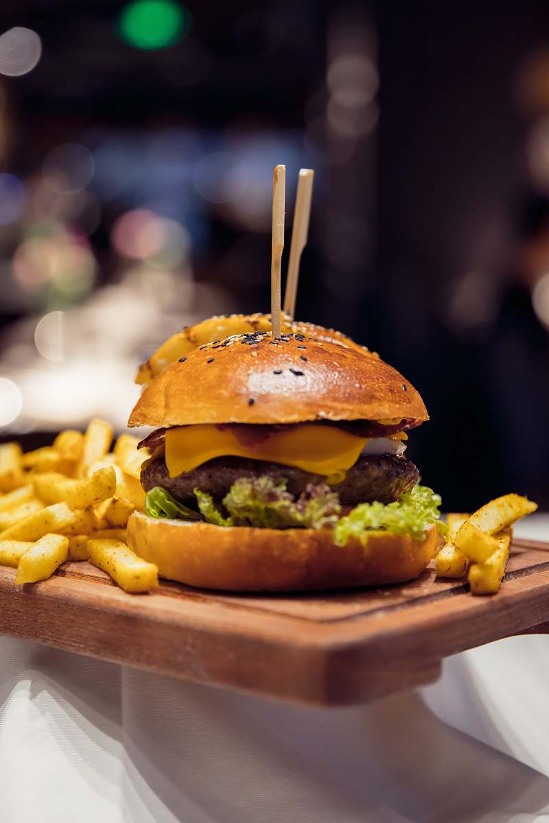stock photos free  of burger ham and cheese burger with fries