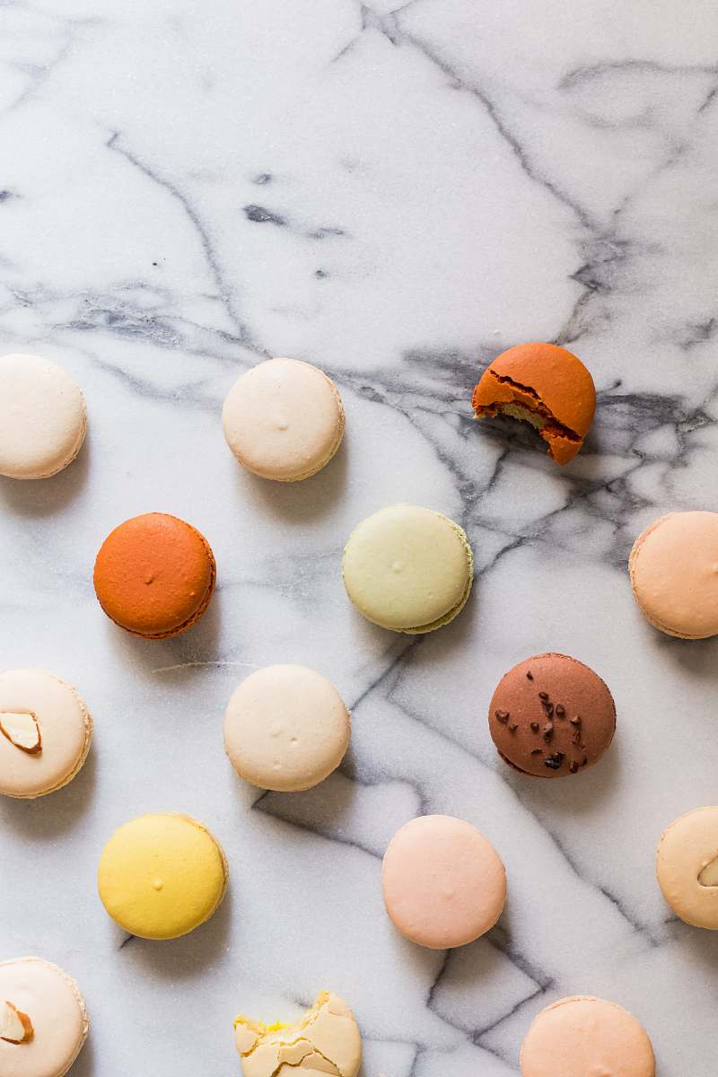 stock photos free  of flat macarons on gray table sweet