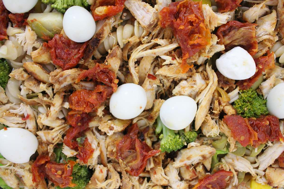 stock photos free  of egg meat with quail eggs noodle