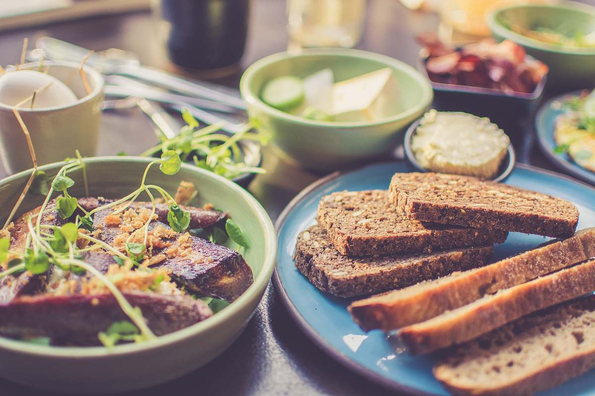 stock photos free  of breakfast sliced breads on blue plate bowl