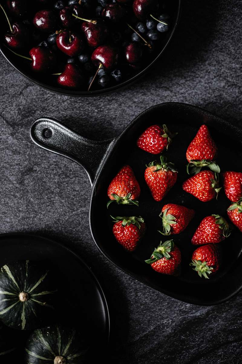 stock photos free  of fruit strawberries on frying pan strawberry