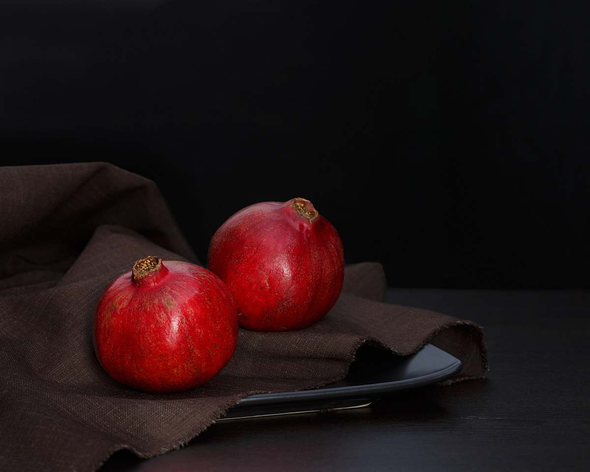 stock photos free  of fruit two red pomegranates food