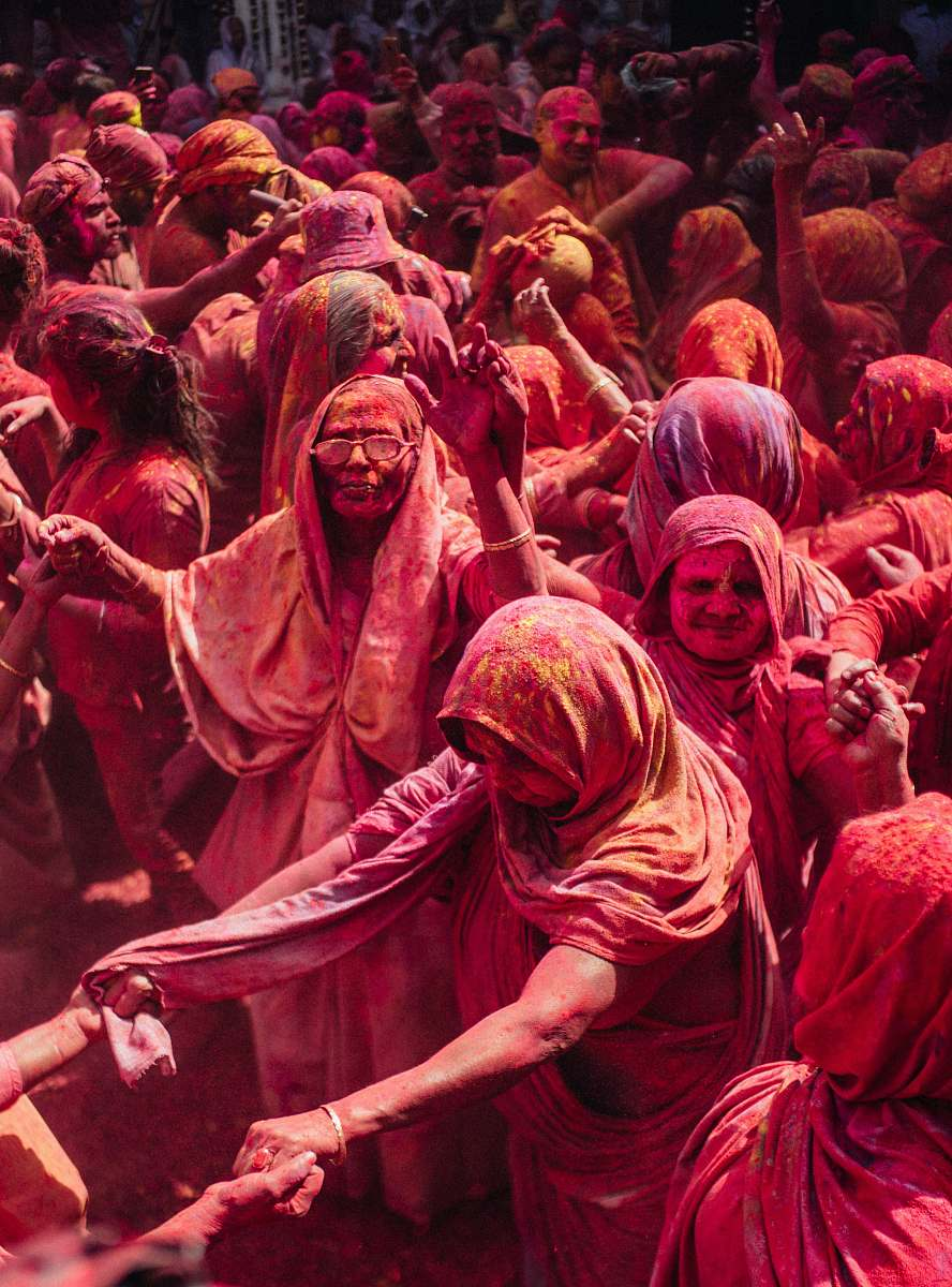 stock photos free  of human group of person gather for Holi  india