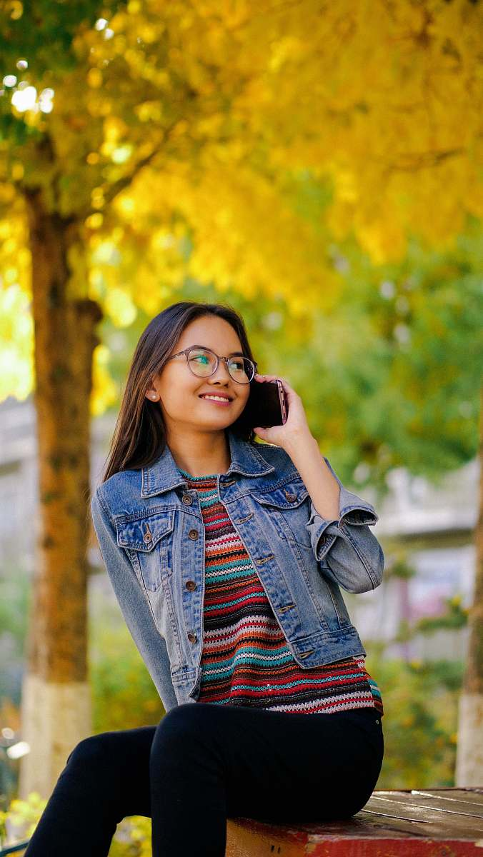 stock photos free  of human shallow focus photo of woman in blue denim button-up jacket people