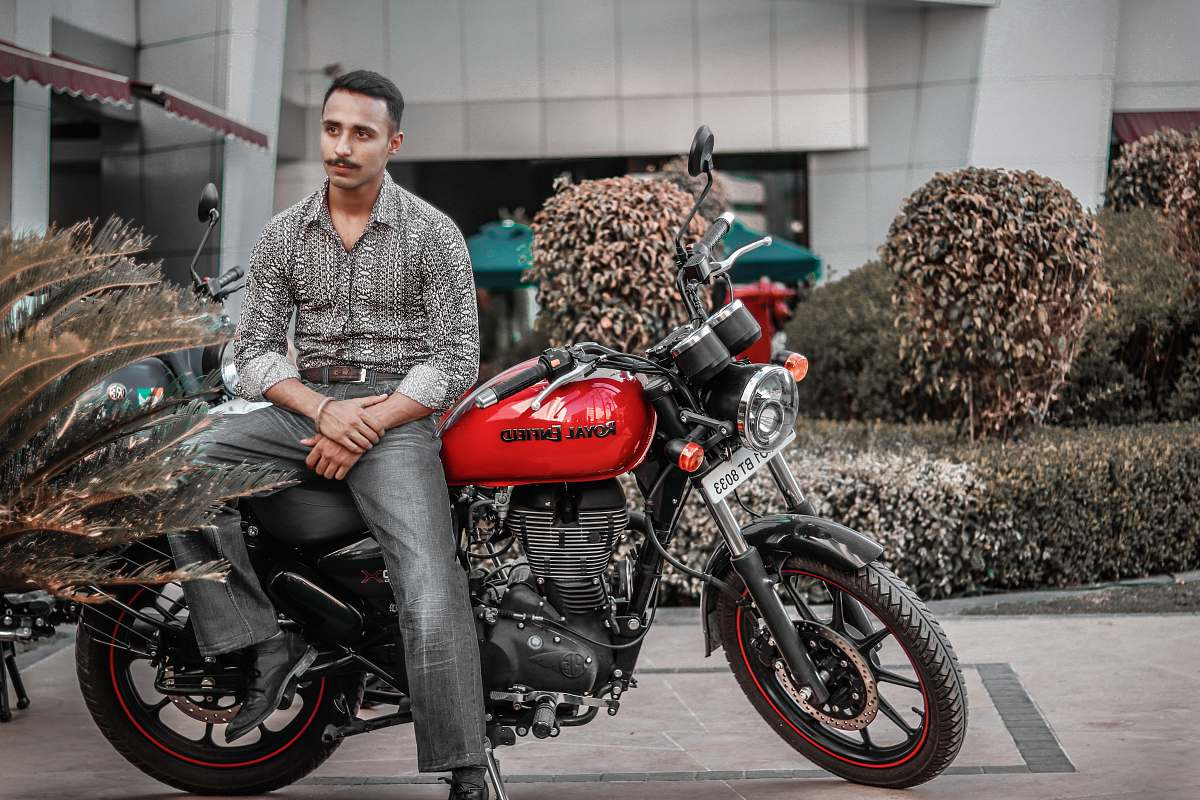 stock photos free  of transportation man on a red and black motorcycle vehicle