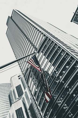 building U.S.A. flag and skyscraper building city