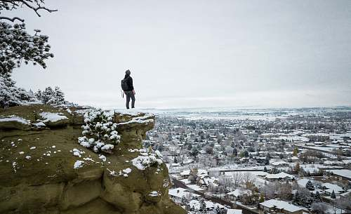 rock person standing on cliff of gray rocky mountain with snow during daytime zimmerman place