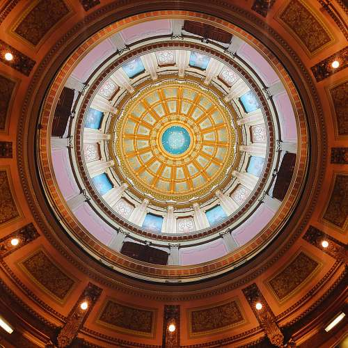 architecture multicolored round dome ceiling window