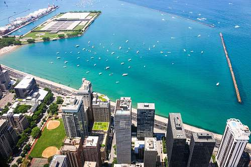 chicago aerial photo of cityscape beside teal calm body of water at daytime outdoors