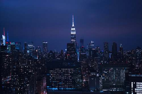 urban aerial photography of city empire state building
