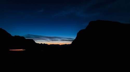 dusk high rise mountain during sunrise skyline