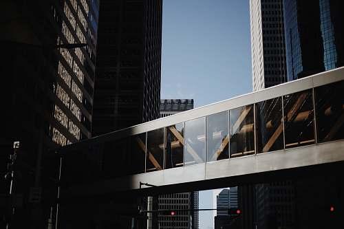 city closeup photo of building sliding door