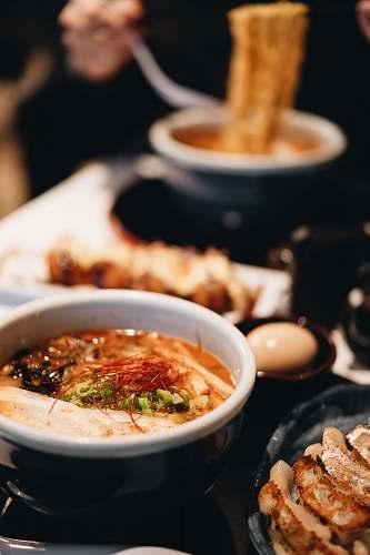 food soup in white ceramic bowl boston